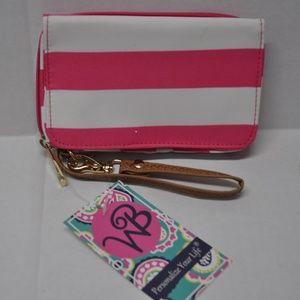 Girl's Women's Wristlet Pink White Striped NWT